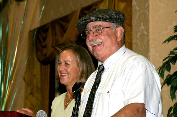 Coach Bob Fish at one of his favorite places -- in front of a microphone at a Team Banquet -- with one of his favorite people -- Coach Renee Williams-Smith